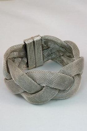 """Gabby"" Large Silver Tone Flat Mesh Twist Bracelet"