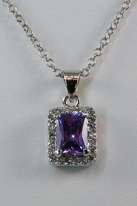 """Rosabella""14K WGP 1.5ct Purple Zircon Pendant"