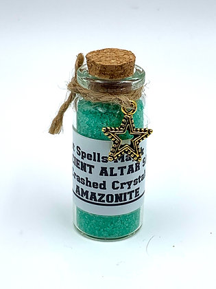 AMAZONITE Ancient Altar Blessed Witches Salt & Crashed Crystals