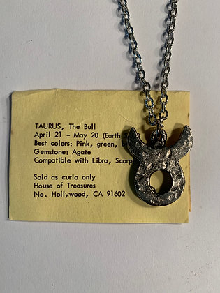 Taurus Zodiac Talisman Necklace Silver Tone
