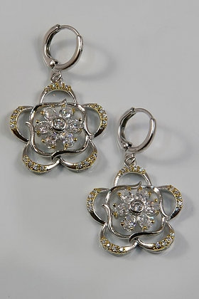 """Lucille"" Two Tone 18KG Plated Floral AAA Zircon Earring"