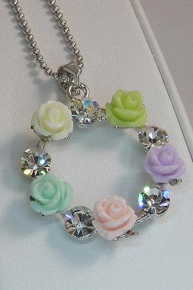 """Garland"" WG Flower Pendant"