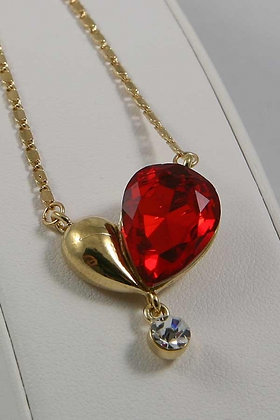 """Alessandra"" Gold Tone Red Heart Crystal Pendant"