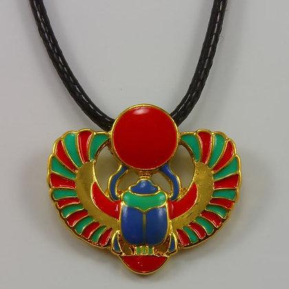 Egyptian Winged Scarab Amulet Pendant Necklace
