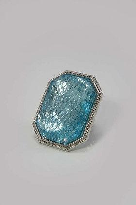 """Dama"" Large Mesh Blue Glass Stone Stretch Ring"
