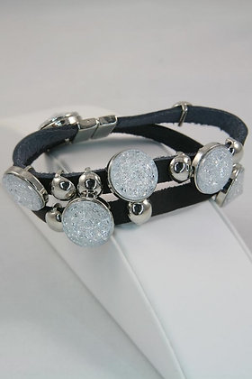"""Orania"" Snow Crystal Metal Disk Leather Bracelet"