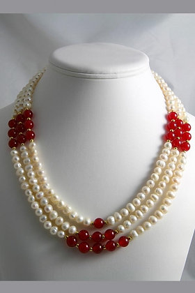 """""""Dana"""" Red Jade & Pearl Necklace"""