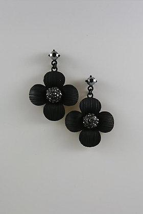 """""""Diane"""" Black Crystal Ball Flower Earrings"""