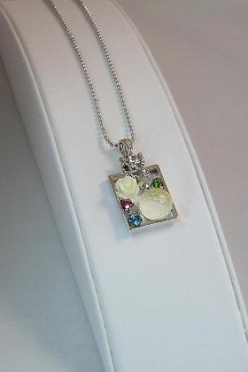 """""""Elisanna"""" Plated Frame Crystal Pendant"""