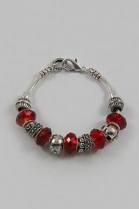 """Brigitte"" Facet Glass Stone &Textured Metal Beads"