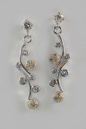 """Angela"" Two Tone Gold Plated Clear Zircon Earring"