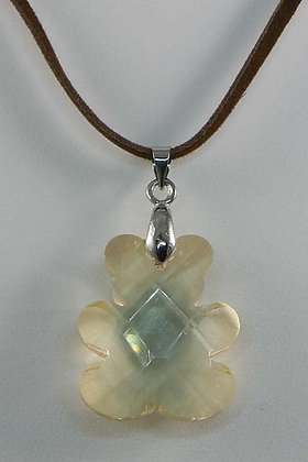 """Teddy""Light Brown Facet Swarovski Crystal Pendant"