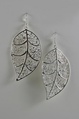 """Aria"" Sterling Silver Filigree Leaf Drop Earring"