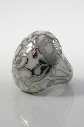 """Idonia""White Enamel Stainless Steel Floral Ring"