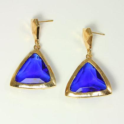 CALEY Blue Triangle Drop Earrings