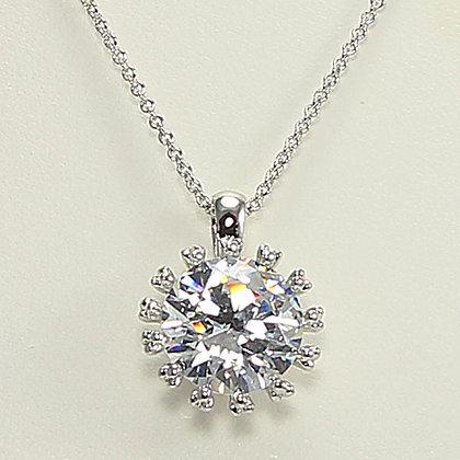 """Brilliant Wonder"" White Gold Pendant Necklace"