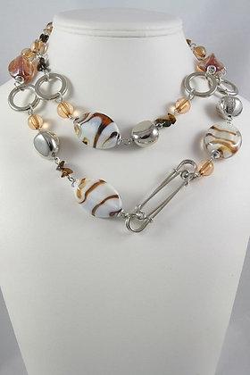 """""""Lynette"""" Murano Glass & Stone 36""""L Necklace"""