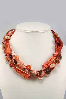 """""""Agnia"""" Wood And Shell Disk Necklace"""