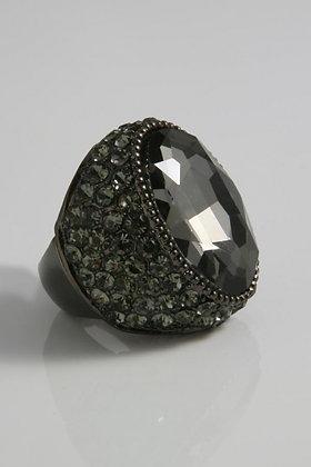 """Edel""Art Deco Black Facet Glass & Crystal Stretch"