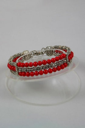 """Henrietta""Natural Red Coral Three-Row Bangle Bracelet."