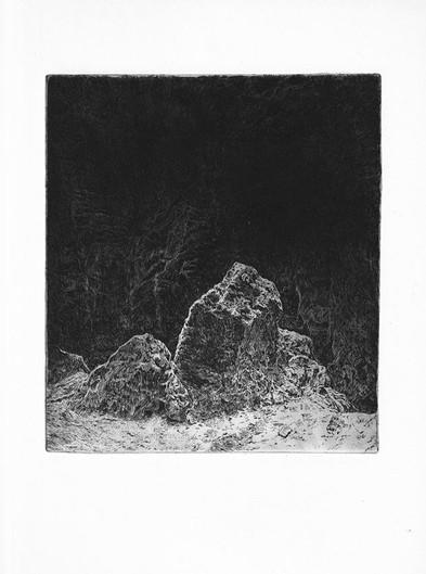 SKÁLY IV. / čárový lept 18x15cm / 2019      Rocks IV. / etching 18x15cm / 2019