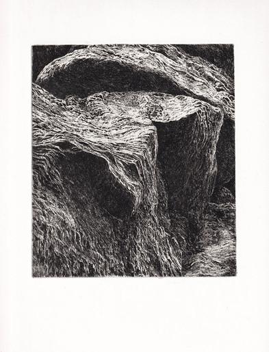 SKÁLY V. / čárový lept 18x15cm / 2019      Rocks V. / etching 18x15cm / 2019