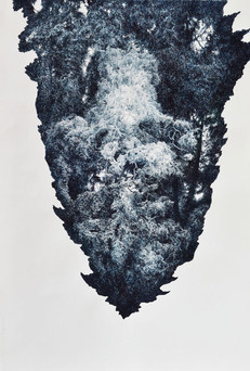 DUCH MÍSTA / perokresba na papíře 94x65 / 2017  soukromá sbírka Švýcarsko     Spirit of place / ink drawing on paper 94x65cm / 2017  private collection in Switzerland