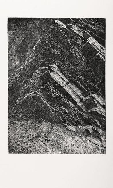 V TICHU SKAL / čárový lept 65x46cm / 2019  grafika byla v nominaci na hlavní cenu a na cenu za hlubotisk na výstavě Grafika roku 2019     In the silence of the rocks / etching 65x46cm / 2019  nomination in the competition Graphics of the Year 2019 / Municipal House in Prague