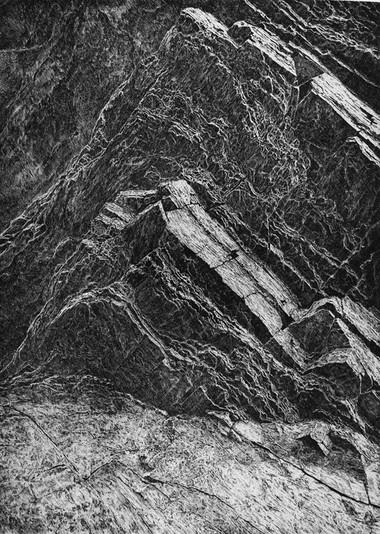 V TICHU SKAL / čárový lept 65x46cm / 2019  grafika byla v nominaci na hlavní cenu a na cenu za hlubotisk na výstavě Grafika roku     In the silence of the rocks / etching 65x46cm / 2019  nomination in the competition Graphics of the Year 2019 / Municipal House in Prague