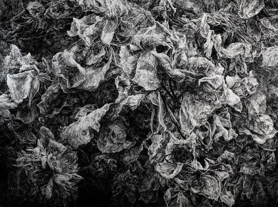 PŘI SOUMRAKU / tuš na plátně 160x120cm / 2020       At dusk / ink on canvas 160x120cm / 2020
