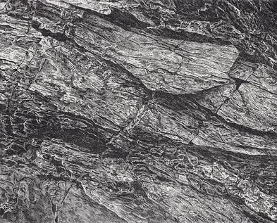 SKÁLA / čárový lept 25x20cm / 2019       Rock / etching 25x20cm / 2020