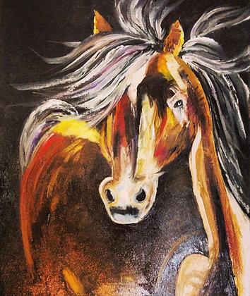 Horse palette knife oil painting