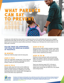 What parents can say to prevent sexual abuse