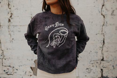 Carpe Diem Cropped Navy Sweatshirt Small