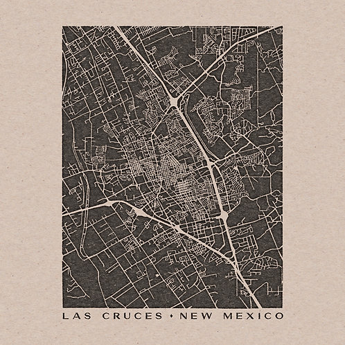 Las Cruces Map 12 x 12 Print