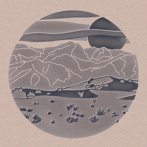 Blue Circle Desert 12 x 12 Print