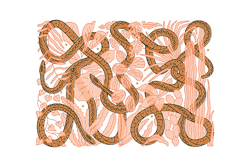 Rust Snake with Pink Leaves
