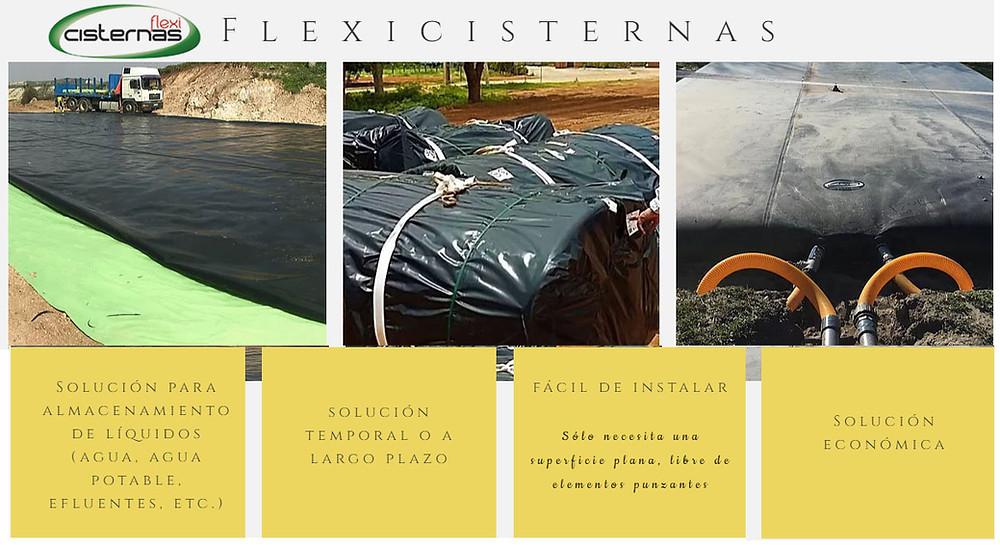 Cisterna Flexible, FlexiCisterna, para el almacenamiento de agua, agua potable, agua de lluvia, para líquidos, lixiviados, purines, abonos líquidos, etc.
