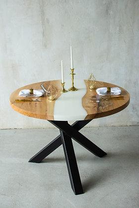 """Круглый обеденный стол-река в стиле лофт """"Milk river"""""""