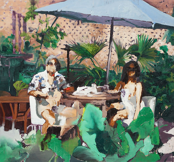 0079-Couple Having Lunch, 2020, 56x60 in