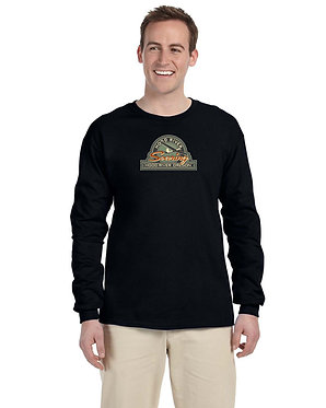 Men's long sleeve knit shirt with vintage logo