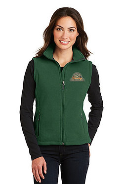 Women's fleece vest with embroidered vintage logo