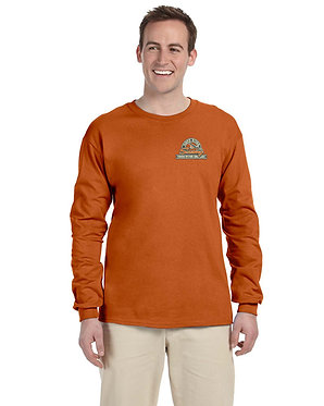 Men's long sleeve knit shirt with embroidered vintage logo