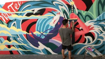 Timelapse of Mr Tee Mural