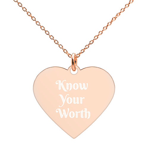 """Engraved Heart Necklace """"Know your worth"""""""
