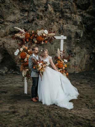 Love Story | Fall Florals Beach Elopement