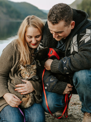 Love Story | Buntzen Lake engagement with all the fur babies