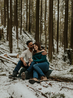 Love Story | Snowy BC Engagement Session at Buntzen Lake