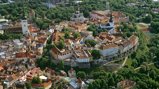 An aerial view of Tallinn , Estonia
