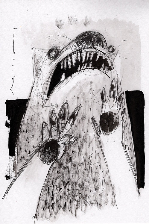 "BEASTS: ""Attack"" ~ Original Ink Drawing on Paper"